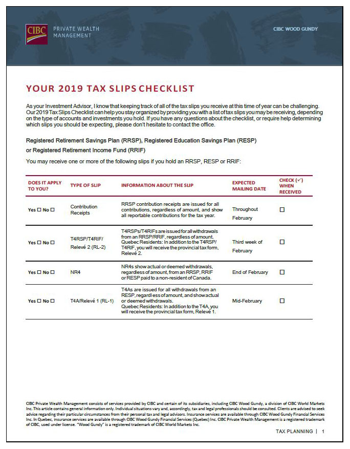 2019 Tax Check-list